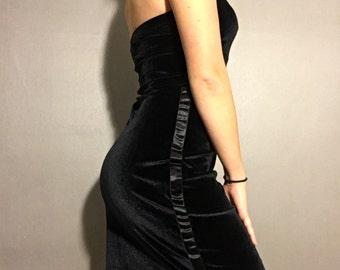 Vintage velour Tommy Hilfiger strapless tube dress