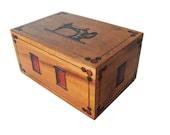 Handmade wooden sewing box Sewing basketStorage box Needle box Removable Shelf Sewing Machine Motif