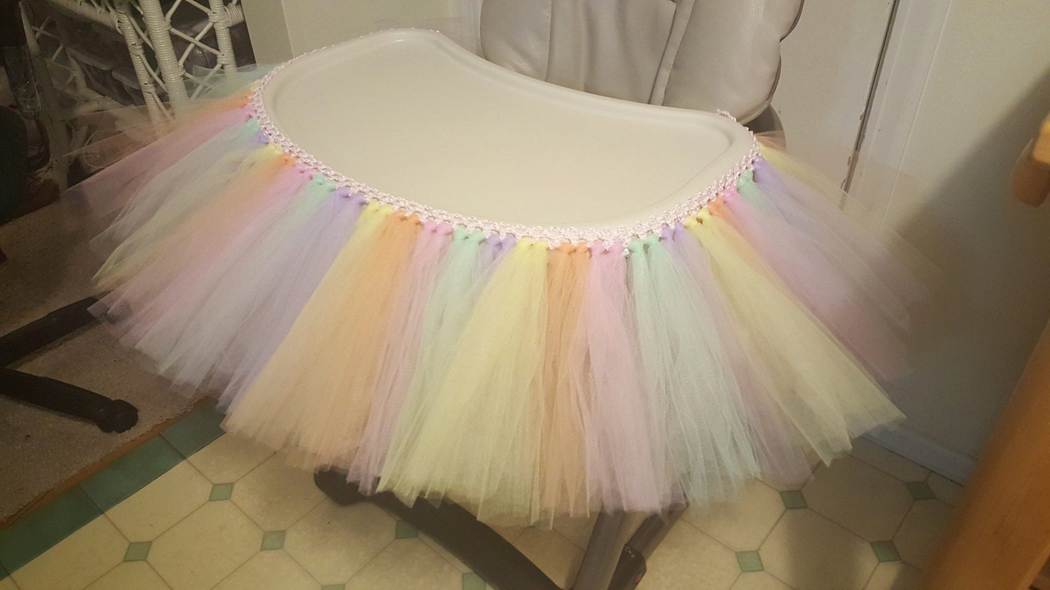 high chair tutu tulle table skirt banner highchair decoration