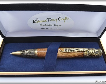 Harry Potter chamber of secrets is a great place to see a Phoenix been reborn, Phoenix pen made in Ireland in Irish Elm