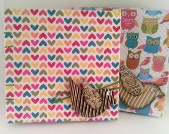 Little Hearts Handbound 4.5''x4.5'' Pocket Sketchbook or Journal