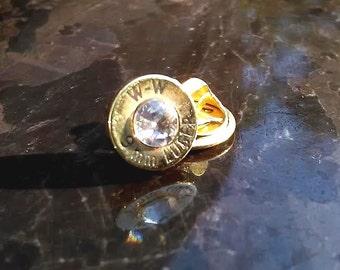 Bullet Jewelry Tie tack/Hat pin with  Swarovski crystal , 9mm bullet, men's accessory, men's gift, unique, handmade, groomsmen gift,