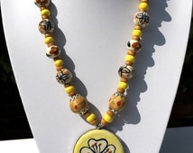 Ceramic Beaded Necklace; Indian Jewellery, Handmade, Ethnic, Statement Necklace