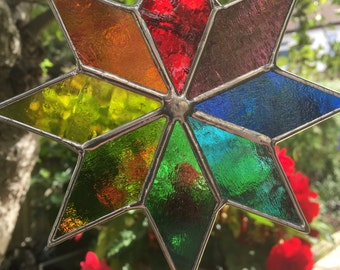 Stained Glass Star Multi Colour Stained Glass Suncatcher Stain Glass Color - CRhodesGlassArt