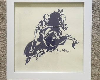 Monotype Print of Jumping Horse