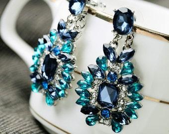 Royal Blue Earrings, Blue Dangle Earrings, Royal Blue Chandelier Earrings