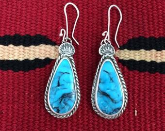 Sterling Silver Kingman Turquoise Drop Earrings