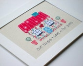 Original textile art, textile picture, applique art, handmade, free motion, machine embroidery, new home, wedding gift