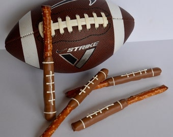 Chocolate Covered Football Pretzel (12), Chocolate Dipped Pretzel, Chocolate Football, Chocolate Football Favors, Super Bowl Chocolates
