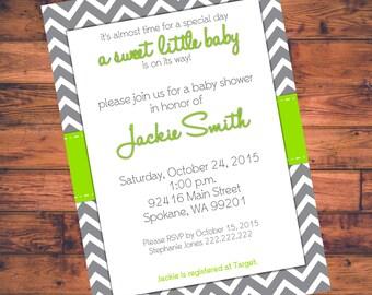Printable Baby Shower Invitation- Green w/ Gray Chevron  - Digital File