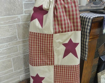 Burgundy Homespun Primitive Star Throw/Wallhanging