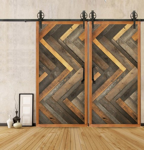 Custom sliding barn door reclaimed herringbone by for Hanging a sliding barn door