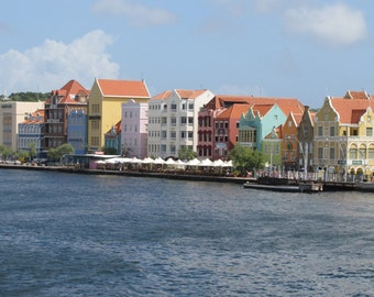Pastel Buildings Photo, Willemstad Curacao, Caribbean Island, Travel Photography