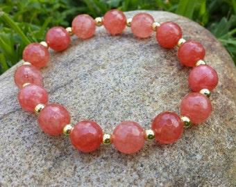 Coral & Gold Beaded Stretch Bracelet