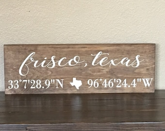 Latitude Longitude Sign, Coordinates Sign, Home City Sign, Housewarming Gift, City Name Sign, Home Coordinates Sign