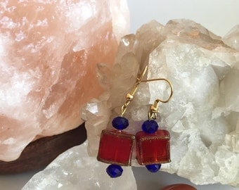 Red glass cut earrings with Indigo Blue crystal beads