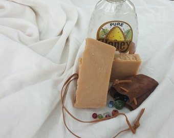 Honey and Leather Goats Milk Soap