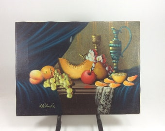Still life vintage oil painting furit & vaces