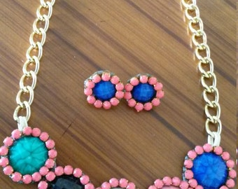 chain and earrings with stones