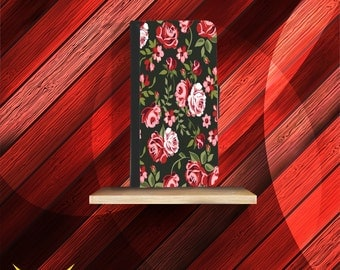 Vintage Black Floral Roses iPhone Wallet Cases