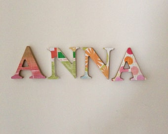 Custom decorated small wodden letters
