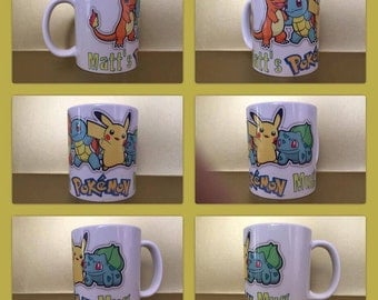 pokemon ash pikachu squirtle japan nintendo personalised mug cup any name gift go present group