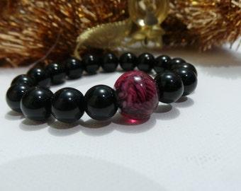 Black Onxy, Glass, stretchable bracelet
