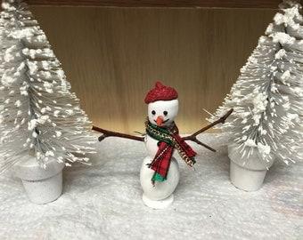Miniature Snowman, Miniature Fairy Garden Snowman, Miniature Dollhouse Snowman, Miniature Terrarium Snowman, Miniatures, Snowman, Christmas
