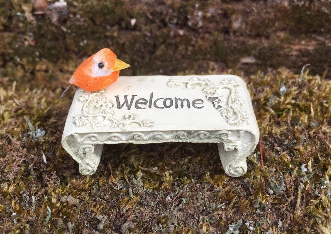 Miniature Welcome Bench Miniature Fairy Bench Miniature Fairy