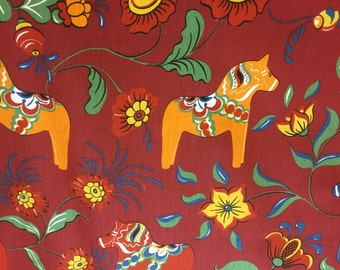 Tablecloth Christmas red, horse Scandinavian desing