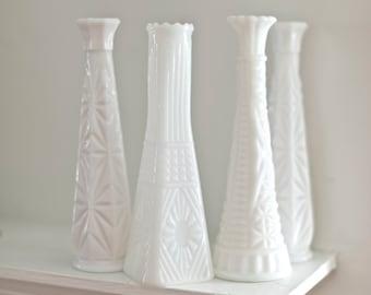 Vintage Milk Glass stem vases