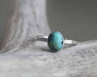 Chinese Turquoise Stacking Ring - Turquoise Stacker - Custom Stacking Ring - Southwestern Jewelry - Boho Stacking Ring