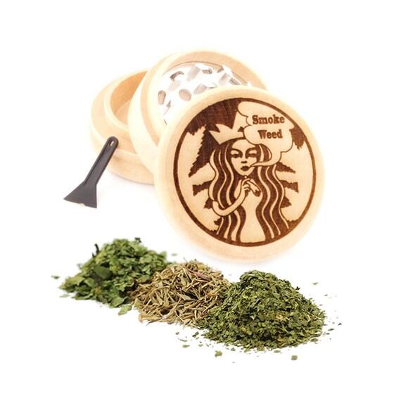 Smoke Leaf Engraved Premium Natural Wooden Grinder Item # PW91316-12