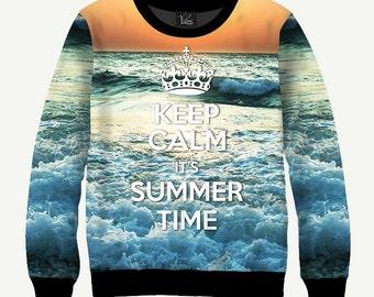 Keep Calm It's Summer Time, Blue Sea, Sunset - Men's Women's Sweatshirt | Sweater - XS, S, M, L, XL, 2XL, 3XL, 4XL, 5XL