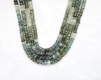 Moss Aquamarine Faceted Rondelle Full length 14 inches