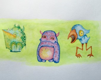 ORIGINAL - LIL MONSTERS - Watercolor Painting - 12x18