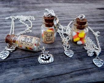 Candy Corn bottle necklace charm