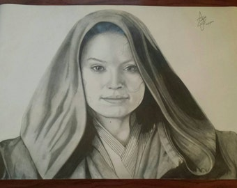 Daisy Ridley King Star wars original drawing A3