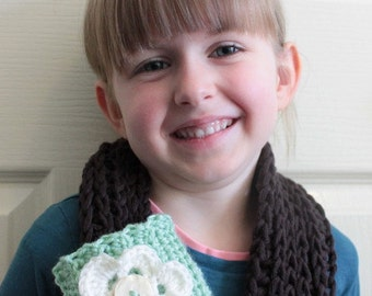 Crochet cowl, scarf, flower scarf, button scarf, little girl scarf, winter scarf, Women's cowl, Neon scarf. Christmas gift, Birthday gift.