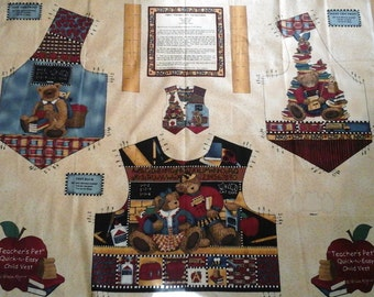 Child's teachers pet vest pattern on fabric