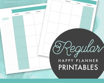 Printable Regular Happy Planner Undated Monthly & Weekly Inserts with Notes Pages / DIY / Calendar