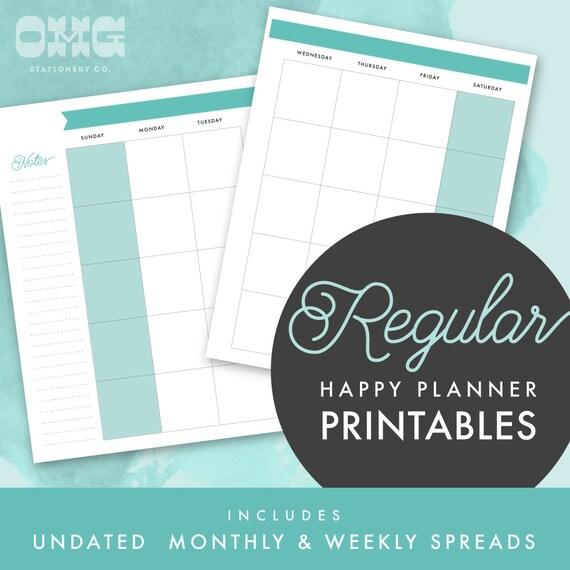Happy Planner Calendar Printables : Printable regular happy planner undated monthly weekly