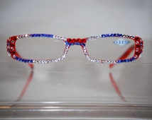 2.25 Swarovski Crystal Reading Glasses (red,blue n Crystal) FREE SHIPPING
