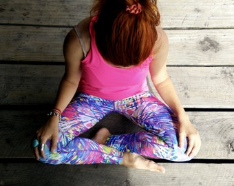 YOGA PRINTED LEGGINGS Colorful Jungle High Waist Fitness Sport Woman Gym Workout Clothes Professional Printing Sports Running
