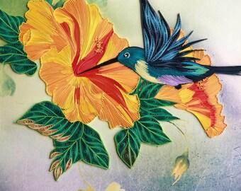 Humming Bird Paper Quilling Handmade Art piece