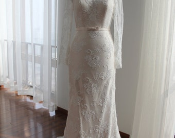 Long Sleeves Wedding Dress features Vintage French Lace and Satin Sash