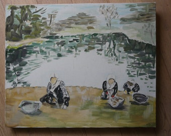 """array acrylic on canvas Brittany """"Impressionist"""" style washing at the edge of a pond or a laundry"""