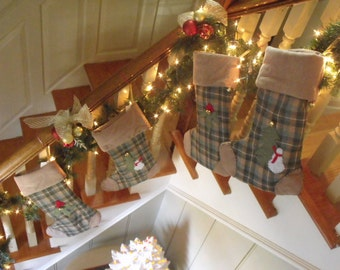 Green plaid Flannel Christmas Stocking