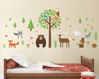 Modern Woodland Animals Wall Decal, Forest Creatures Wall Decal, Deer Wall Decal, Tree Wall Decal, Bear Wall Decal, Fox Wall Decal