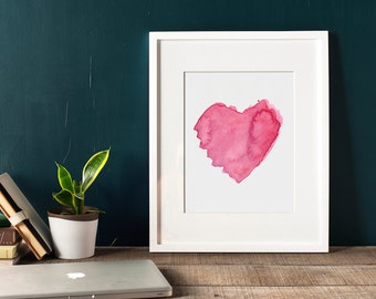Watercolor Heart Fine Art Print. Red pink home decor. Simple design.